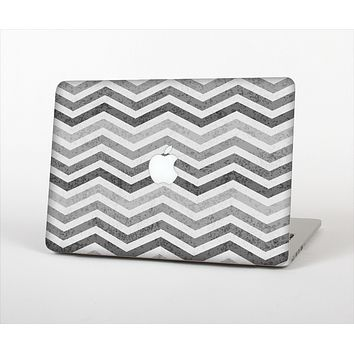 The Gray Toned Wide Vintage Chevron Pattern Skin Set for the Apple MacBook Pro 13""