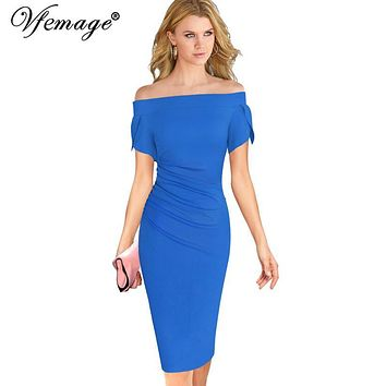 Vfemage Womens Elegant Ruched Draped Slash Neck Off Shoulder Sexy Vintage Ladies Casual Party Evening Bodycon Sheath Dress 6189