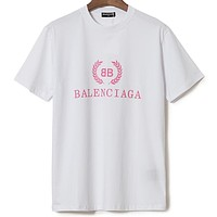 Balenciaga 2019 new pink wheat letter Logo round neck half sleeve T-shirt white