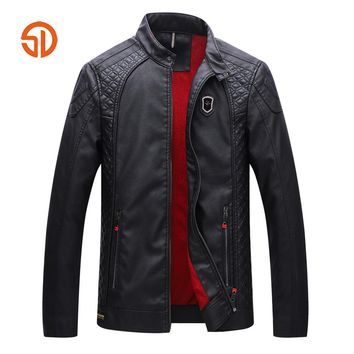 Faux Leather Jacket Men Fleece Keep Warm Winter Jacket Mens Leather Jacket And Coats Plus Size XXXL Bicker Moto Leather Jacket