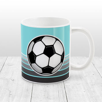 Soccer Ball Mug - Light Teal with Gray Gradient Stripes - Teal Soccer Mug, Soccer Coffee Mug - 11oz or 15oz - Made to Order
