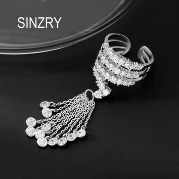 SINZRY NEW Micro paved Cubic zirconia open end adjustable CZ tassel finger rings for women lady exaggerated trendy ring