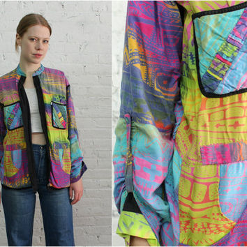 reversible psychedelic print rayon festival jacket / art teacher chic