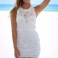 North Holland Textured White Lace Dress