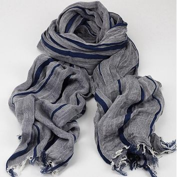 Fashion Brand Winter Cotton Long Striped Blue Warm Scarves For Lady Bufanda Escocesa Plaid Woven Wrinkled Cotton Scarf Men