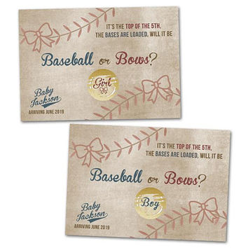 Baseball or Bows Scratch Off Cards - Gender Reveal Party - Scratch Offs Baby Reveal - Baseball Gender Reveal Party Game - Vintage Baseball