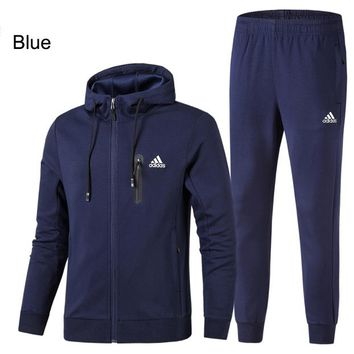 ADIDAS 2018 autumn and winter new plus velvet casual hooded jacket sweater two-piece Blue