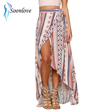 One Piece New Style 2016 Insanely Beautiful Tie Strings and Stunning Print Long Maxi Beach Skirt for Woman L449