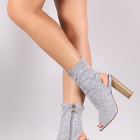 Stretch Fitted Heathered Peep Toe Ankle Boots