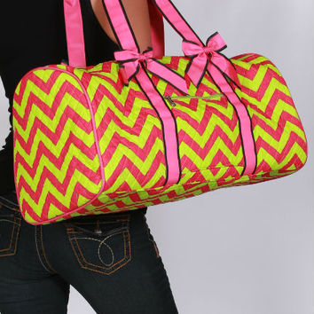Pink and Neon Green Quilted Chevron Travel Bag