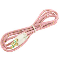 Rope Braided Aux Auxiliary Cable Cord 3.5mm - 3FT Pink for HTC Droid DNA