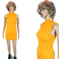 Vintage THE LIMITED 80's 90's Bodycon Dress, Ribbed Turtleneck Dress, Minidress, Sleeveless Mini, Revival Mustard Yellow Wiggle Dress