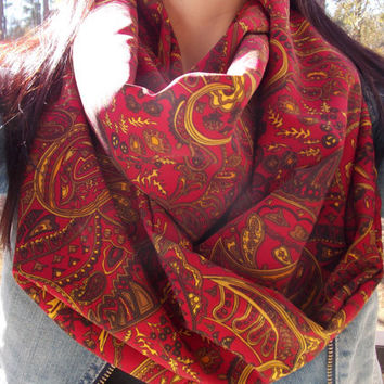 red and gold paisley scarf