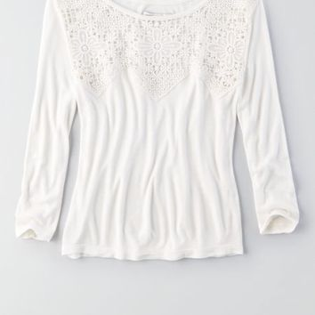 AEO Women's Soft & Sexy Lace Paneled Baby T-shirt