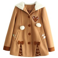 Partiss Womens Winter Cute Button Fleece Pea Coat Hooded Outwear Jacket