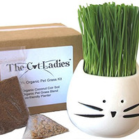 100% Organic pet grass kit/cat grass kit with cat grass planter. Natural hairball control and hairball remedy for cats. Natural digestive aid. Includes planter, Organic seed mix and organic soil.