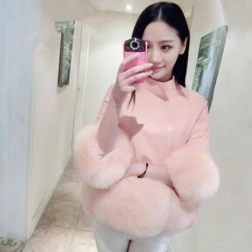 Leather Slim fox fur cuffs jacket collar short paragraph was thin imitation fur