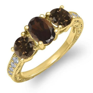1.79 Ct Oval Brown Smoky Quartz 18K Yellow Gold Plated Silver Ring
