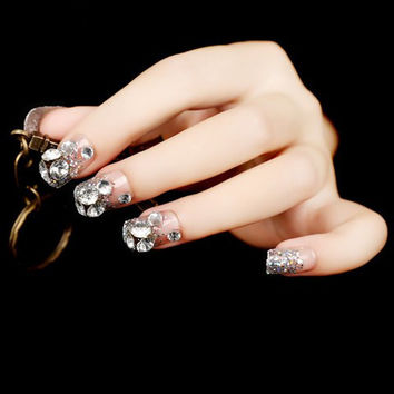 24 PCS Transparent Rhinestones and Glitter Stud Nails Art