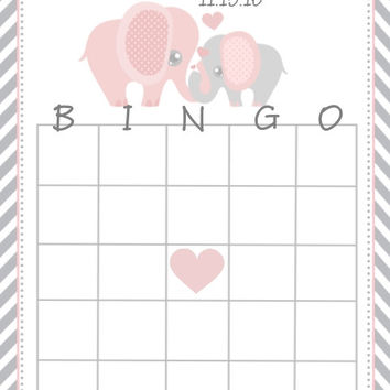 Elephant Pink Themed Baby Shower Bingo Cards