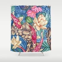 Koi Pond Shower Curtain by Vikki Salmela