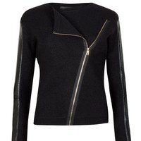 Leather sleeve biker jacket - Black | Sweaters | Ted Baker