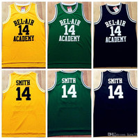 Fresh Prince Jersey, #14 Will Smith Basketball Jersey, The Fresh Prince of Bel Air Academy Yellow Green Black Basketball Jerseys All Stitche