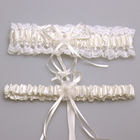 Ivory Sexy Lace Bowknot Bridal Garter Set Wedding Accessoreis Leg Garters Belt