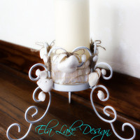 Sea Shell Candle Holder , Unique Nautical Home Decor & Beach Wedding Decoration