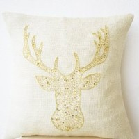 Amore Beaute Handcrafted Christmas Pillow Cover with Deer Motif Embroidered in Gold Sequin on Ivory Burlap - Animal Pillowcover with Stag Embroidered in Gold Sequin and Beads - Burlap Pillowcases - Gold Moose Pillow Cover - Gold Pillowcases - Christmas Dec