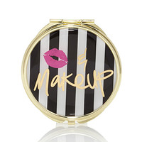 FOREVER 21 Kiss & Makeup Mirror Compact Black/Cream One