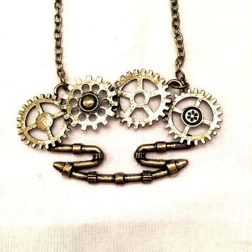 Gears Brass Knuckle Steampunk Gold Necklace