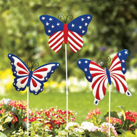 Set Of 3 Metal Patriotic Butterfly Garden Stakes 4th Of July Summer Yard Art New