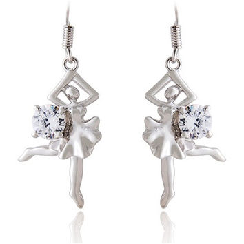 ITALINA Dancing Girl 18K RGP Diamond Earrings (White)