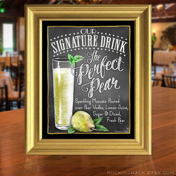 Chalkboard Style Signature Drink Signs | Wedding, Shower, Rehearsal Dinner Decoration UNFRAMED Art Print for Events, Birthdays, Unique Gift