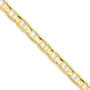 5.25mm, 14k Yellow Gold, Concave Anchor Chain Anklet or Bracelet, 9in