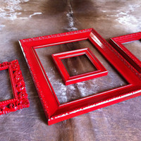 Eclectic Home Decor Red Frames Vintage Frames Painted by FeFiFoFun