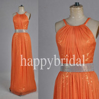 Long Elegant Orange Sequined Prom Dresses Bridesmaid Dresses Part Dresses Evening Dreses 2014 Wedding Occasions