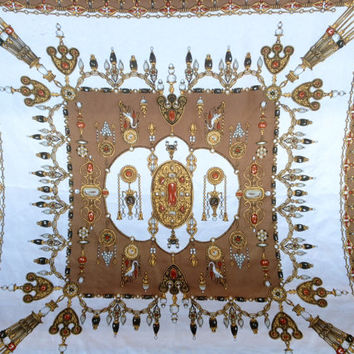 Vintage Silk Scarf Brown and White featuring beautiful design