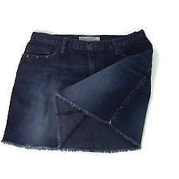 ABERCROMBIE & Fitch Womens TEEN Girls Jean Skirt Fringed size 6 Distressed Jeans