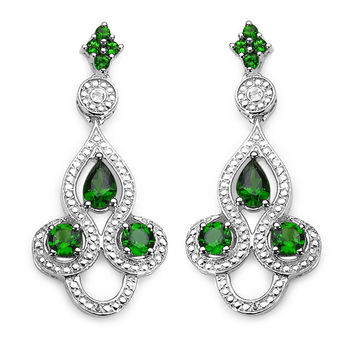 2.26 Carat Genuine Chrome Diopside & White Topaz .925 Sterling Silver Earrings
