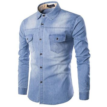 Casual Denim Shirts Men Brand Long Sleeve Turn Down Collar Camisa Fitness Cotton Jeans Shirts Masculine Men Shirt Chemise Homme