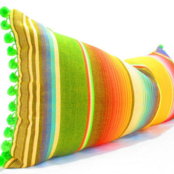 Bohemian decor, Mexican Pillows, Tribal  Aztec Cushion, Mexican Cushion, Yellow Pillows, Serape Pillow, Southwestern pillows, pom pom,