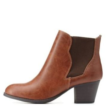 Tan City Classified Low Chunky Heel Chelsea Booties