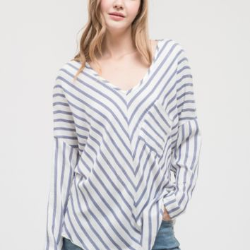 Women's V-Neck Striped Top with Dolman Sleeves