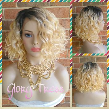 ON SALE // Short & Wavy Bob Lace Front Wig, 100% Human Hair Blend, Ombre Platinum Blonde // DELIGHT ( Free Shipping)