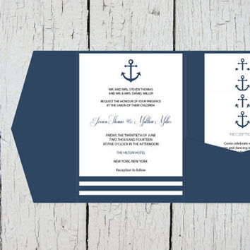 Nautical Pocket Wedding Invitation Template Set - Navy Anchor Striped DIY Printable Editable PDF Templates  Instant Download - DIY You Print