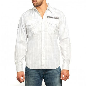 Affliction Breaking Glass Button-Down Long Sleeve Shirt - White