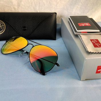 Authentic Ray-Ban Aviator RB3025 002/4W 58 Black Orange Gradient Flash Sunglases