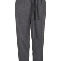 TALL Flannel Belted Peg Pants - Grey